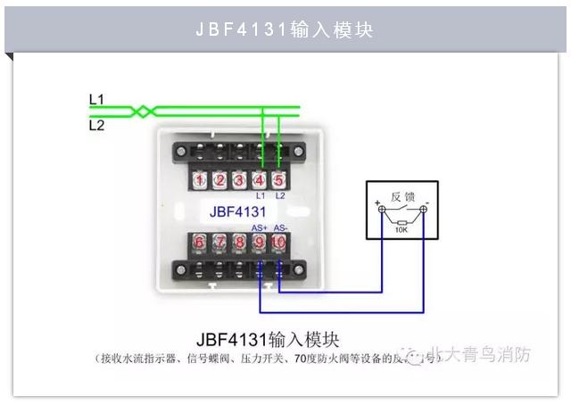 北大青鸟jbf4131消防现场模块类产品接线示意图